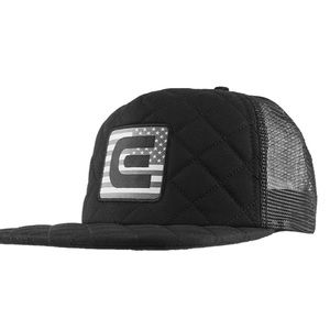 Quilted trucker hat black. Baseball hat